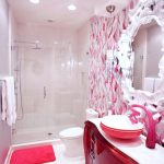 Ornate Mirror And Pink And White Bathroom Accent Tile Wall Crystal Pendant Light Girls Bathroom Glass Shower Door Ornate Mirror Pink And White Bath