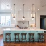 Paneled Ceiling And White Ceiling Backless Bar Stools Beadboard Ceiling Colored Island Corner Sink Cute Kitchen Glass Transom Cabinets Globe Pendant