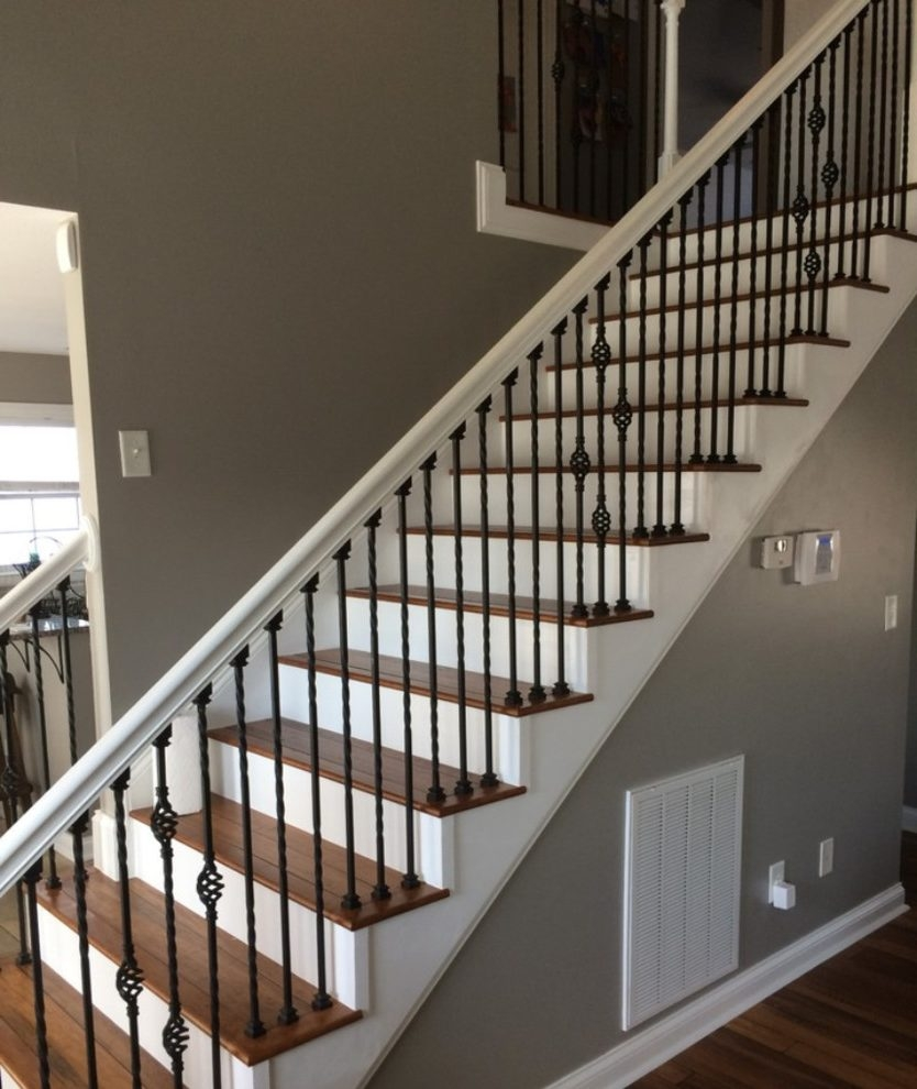 Dishy Wrought Iron Stair Railing Home Renovations With Hand Rail | Wrought Iron Stair Railing Near Me | Wood | Railing Ideas | Spindles | Ornamental Iron | Iron Balusters