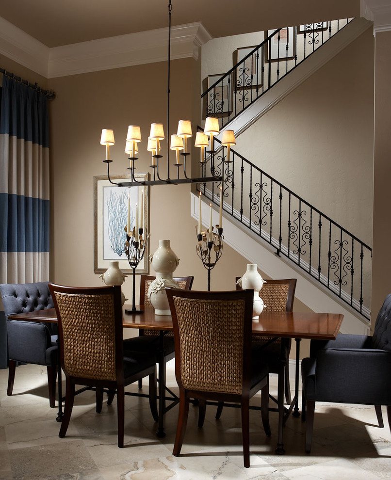 Chair Rail Dining Room Blue And Brown Centerpiece Chandelier ...