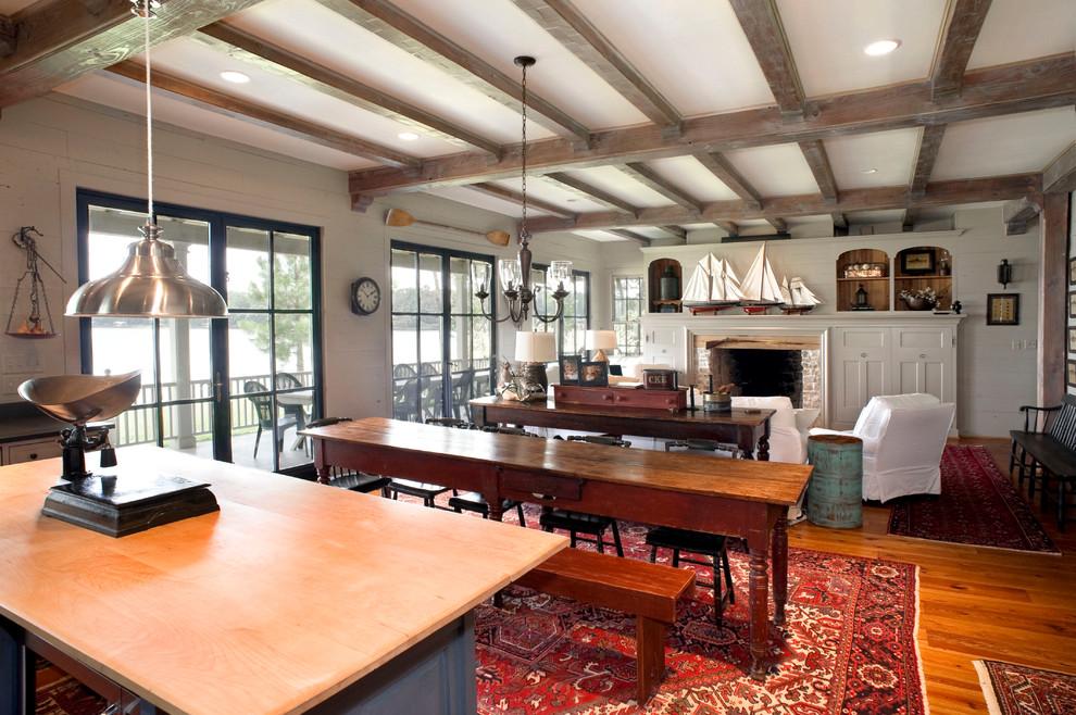 Lake House Bedding Rustic Living Room Wood Beams And Lake House Antique Scale Bench Seat Built In Cabinets Lake House Rug Area Sailboats. Slipcovers Seating Stainless Steel Pendant Light Wood Beams