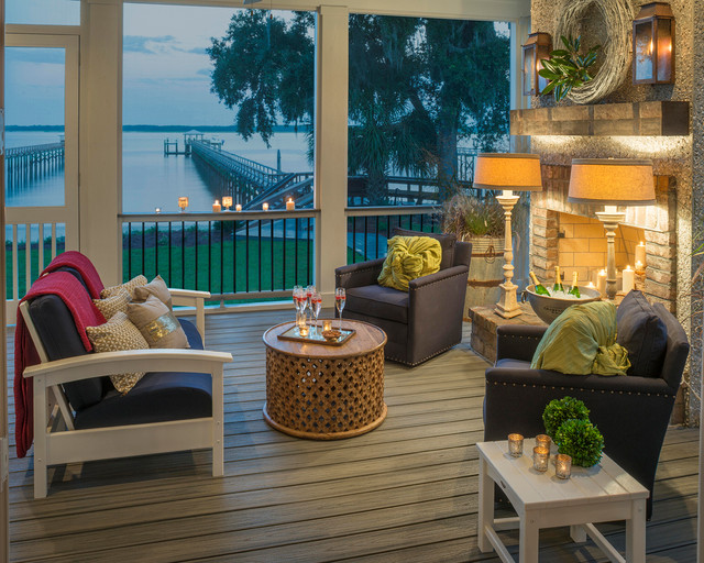 Glorious Dc Metro Deck Railing Design Transitional Porch Patio Furniture Blue Armchairs Island Mist Trex Outdoor Trex Transcend Composite Enclosed Porch Water Front