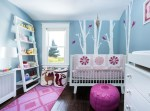 Good-Looking Pink Chevron Wall Nursery Transitional with White Tree Decal Ladder Shelf Toy Storage Geometric Rug Clear Table Lamp Bright Floor Pouf and Blue Shade Sprout