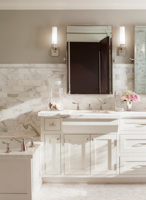 Impressive Paint Color Revere Pewter Bathroom Traditional With Square Sinks And Mosaic Tile Bathroom Lighting Mirror Calacata Borghini Floral Arrangement Flush Inset Cabinet Marble Tub Deck