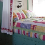 Pretty Built In Bed Kids Beach Style With Colorful Bedding And Knob Pulls Antique Lamp Bed Curtains Bright Colors Built-in Drawers Storage Colorful Bedding Under Girls Girls Kids Knob Pulls Matching