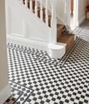 Blooming Black and White Checkered Tile Hall Victorian with Traditional Style Classic Design Encaustic Floor Tiles Hallway Victorian Statement Modern