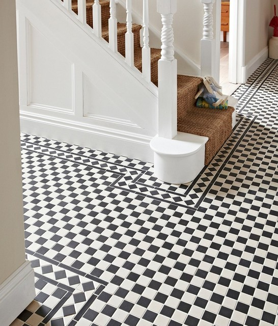 Blooming Black And White Checkered Tile Hall Victorian With Checkerboard And Hallway Tile Black & White Checkered Checkerboard Classic Design