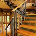 Blooming Modern Stair Railings Staircase Staircase Contemporary With Knotty Pine And Wood Grain Knotty Pine Metal Risers Staircase Stained Stainless