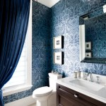 Blooming Powder Blue Paint Color Powder Room Traditional With Linear Wall Sconce And Painted Ceiling Blue Velvet Curtain Drapes Wallpaper Damask Dark