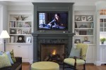 Brilliant Benjamin Moore Nantucket Grey Family Room Traditional with Green Pouf Built in Shelves Bookshelves Wall Mount Tv Footed Cabinets Wood Flooring Crown Molding Throw Pillows Above Fireplace