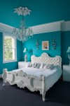 Glorious Chandeliers For Bedrooms Ideas Bedroom Eclectic with Chandelier Blue Walls White Night Stands Turquoise Bedroom Crystal Crown Molding Ornate Tufted Bed Carved