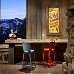 Good-looking Basement Playroom Design Ideas Kids Rustic With Stone Wall And Stone Wall Colorful Barstools Craft Room Rustic Desk Stone Wall Vintage
