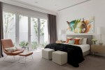Good-looking Black and White Decor For Bedroom Bedroom Contemporary with Linen Bedhead Domino Molteni & C Side Table Square Ottoman Taupe Curtains andrew Frost interiors Bench Orange Leather