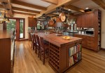 Imaginative Craftsman Style Kitchen Cabinets Kitchen Craftsman with Exposed Beams Spice Racks Wood Hanging Pot Dark Floors Ceiling Lighting Recessed