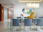 Marvelous interior Decorator Nj Miami Beach Modern interior Design in with White Wall Buffet Table Oval Mirror Wood Panel Gray Dining Chairs Frosted Glass High Gloss Floor Cove