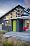 Terrific Benjamin Moore Pashmina Entry Midcentury with House Number Charcoal Siding Exterior Stairs Concrete Flowerbed Slats Red Butterfly Chair Metal Awning Patio Contemporary