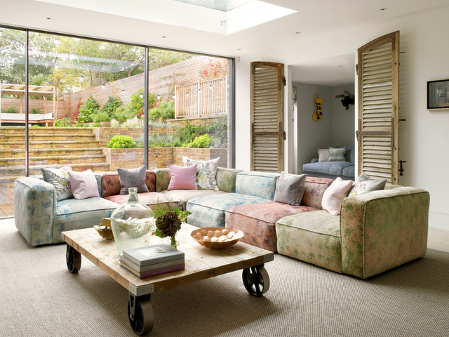 Amazing Playroom Sofa Living Room Contemporary With Basement Walkout And Sectional Sofa Basement Excavation Walkout Blue Cushions Colorful Sectional