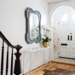 Awesome Foyer Table With Mirror Entry Transitional With Metal Mirror And Arched Door Animal Skin Rug Arched Door Black Metal Console Table Mirror