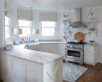 Awesome Restoration Hardware Roman Shades Kitchen Transitional with Beige Cabinets Natural Lighting White Kitchen Chevron Rug Subway Tile Family Open Shelving Modern Drawers