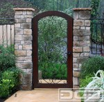 Blooming Entry Gate Designs Garage Mediterranean Forged Scrolling & Wood Frame with Pedestrian Gates Side and Iron Doors Security Designer Gate Styles Safe Hand Made