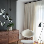 Brilliant Dresser Mirror Ideas Bedroom Contemporary With Floor Lamp And Wood Dresser Accent Wall Bright Rug Floor Lamp Gray Walls Hanging Terrariums