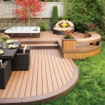 Dishy Decks with Hot Tubs Deck Traditional Backyard Retreat Outdoor Lounging Furniture Dining Wood Deck Tub Outdoor Wicker Hot Built into