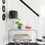 Dishy Foyer Table With Mirror Entry Transitional With Modern Entry And Black Lamp Shade Acyclic Table Black Accents And White Entry Entryway Hallway