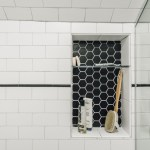 Imaginative Vanity Stool Ikea Bathroom Contemporary With Black Hexagon Tile And Shower Niche Bathroom Suite Black Hexagon Tile Built In Shower Shelf