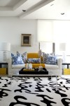 Lovely Adair Acrylic Coffee Table Living Room Modern with Clear Tray Ceiling Bold Patterns Black and White Gold Stripe Ceramic Lamps Lamp