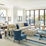 Magnificent Area Rug For Family Room Transitional With Blue And White And White Roman Shade Blue Accent Chair And White Room Pendant Light Striped