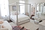 Magnificent Chic Teenage Bedrooms Style Shabby with White Patterned Dresser Sofa Curtains Whitewashed Four Poster Bed Pink Throw Pillow Leather Pouf Animal Hide Rug Low-slung