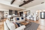 Outstanding White Ceiling Beams Living Room Farmhouse with 12 Ft Kitchen Island Open Great Stained Wood Tongue and Groove Modern Farmhouse Black White interior