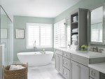 Pretty Bathroom Medicine Cabinets Bathroom Transitional with White Shutters Cabinet Crystal Knobs His Hers Sink Gray Vanity Wall Mirror Double Light Blue Green