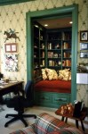 Splendid Bookcase Decorating Ideas Family Room Traditional with Green Trim Bookshelves Wallcoverings Diamond Pattern Converted Closet Traditional Painted Wood Low Drawers Ralph Lauren Floral Pillows