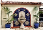 Splendid Outdoor Wall Fountains Patio Patio Mediterranean with Tile Design Blue Pot Stone Water Feature Stucco Exterior Stucco Siding Terracotta Roof MEDITERRANEAN TILE