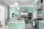 Terrific Robins Egg Blue Paint Kitchen Contemporary with Painted Wood Diamond Pattern Shaker Style Crown Molding Island Lighting Harlequin Floor Pendant Green Kitchen Range Hood Eat