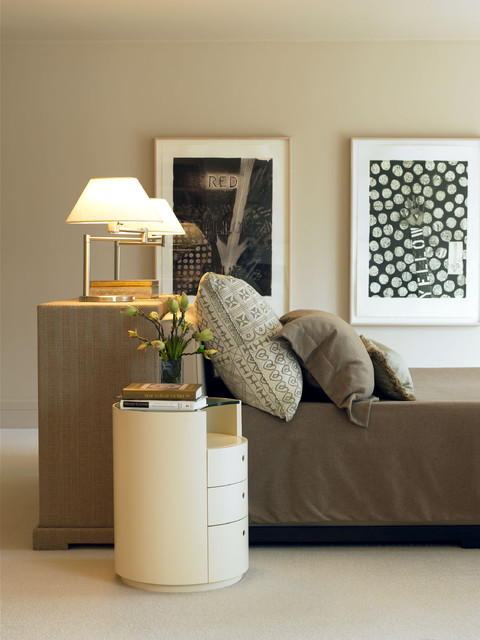 Wonderful Minimal Furniture Design Bedroom Transitional With Floral Arrangement And Bedside Table Bed In Middle Of Room Pillows Bedside Storage Table