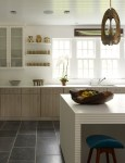 Blooming Beadboard On Cabinets Kitchen Contemporary with All-white Rooms Open Shelf Kitchen Island Lighting All White Shelving Hanging Pendant Blue Barstools Ceiling