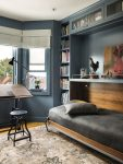 Delightful Murphy Beds Ikea Home Office Transitional with Custom Bed Window Over Desk Guest in Office Room Modern Blue Gray Walls Drafting Built
