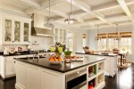 Delightful White Kitchen Cabinets Design Kitchen Traditional with Glass Front Cabinet Black Counter Stainless Steel Appliances Coffered Ceiling Pot Filler Large Island
