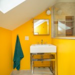 Glorious Double Sink Console Bathroom Contemporary With Glass Shower Door And Bright Yellow Bathroom Sink Bright Yellow Bright Yellow Bathroom Wall