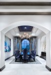 Imaginative Curtains For Arched Dining Room Transitional with Window Gray Blue Ceiling Doorway Large Scale Wall Art Black Dining Table Velvet Chairs Alcove