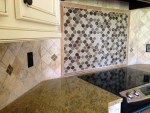 Magnificent Tumbled Marble Backsplash Kitchen Modern with Glass Tile Decorative Tiles Electric Stove Top Arabesque Tile Accent Custom
