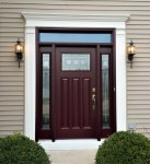 Wonderful Craftsman Front Door Entry Craftsman with Transom Window Over Decorative Glass Style Entry Sidelite Maroon