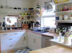 Awesome Vintage Kitchen Shelves Eclectic Century Modern Décor Meets Bold Textiles in A Mississippi Home with Shelving Kitchen Window Large Sink Wood Floor White Cabinets Cast Iron