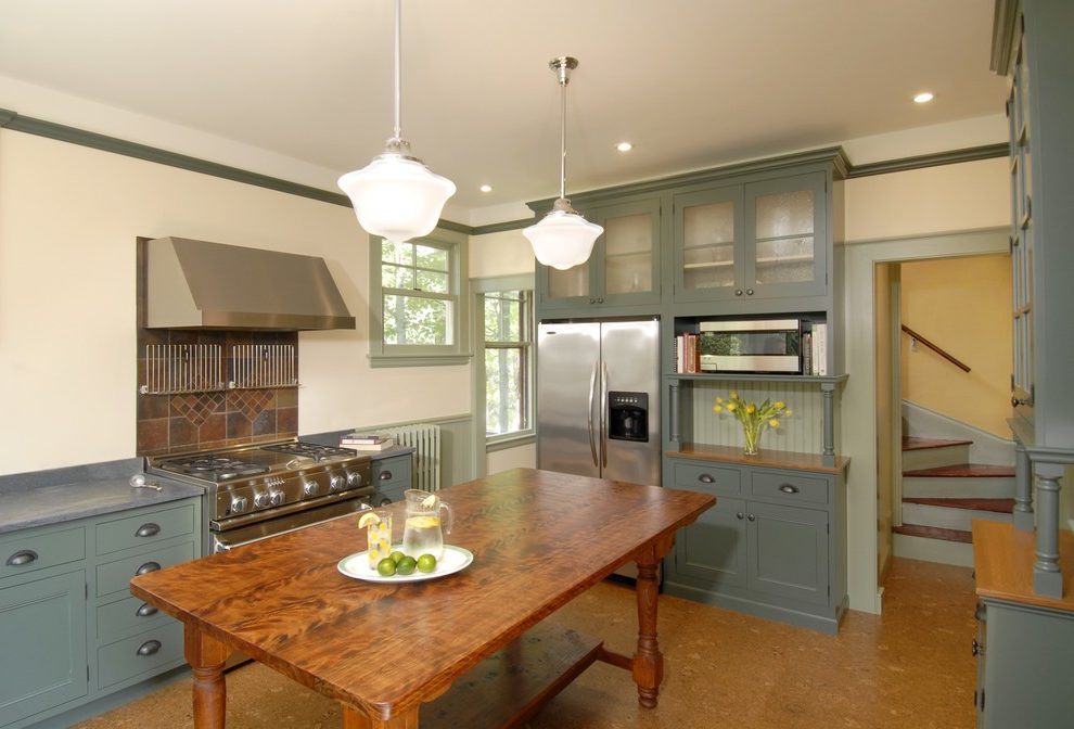 Imaginative Rustic Pendant Lighting Kitchen Victorian With Farm Table And Green Cabinets Ceiling