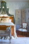 Splendid Canopy Bed Ideas Bedroom French Country with Rustic Room Divider Antique Textile Ballon Shade Screen Floral Area Rug Aubusson Upholstered Chair French Bench Bergu00e8re