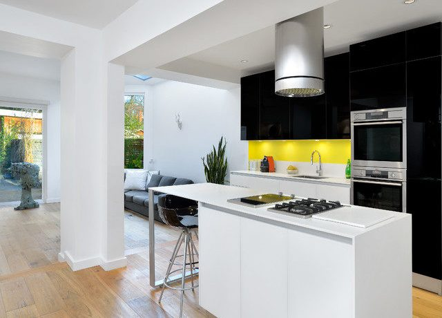 Terrific Lacquered Cabinets Kitchen Modern With Open Concept And Kitchen Remodel Black And White Kitchen Black Cabinets Lacquer Flat Panel Island Hood