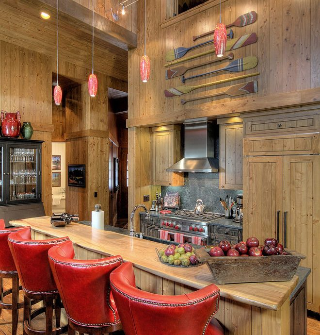 Outstanding Rustic Counter Stools Kitchen Rustic With Wood Kitchen Bar And Cabin Island Built-in