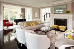 Wonderful Cool Living Room Living Room Transitional with Lounge Chair Chandelier Spiky Accessory Martha O'hara interiors Yellow Ottoman Black Floor Decorative Pillows Window Treatment Star
